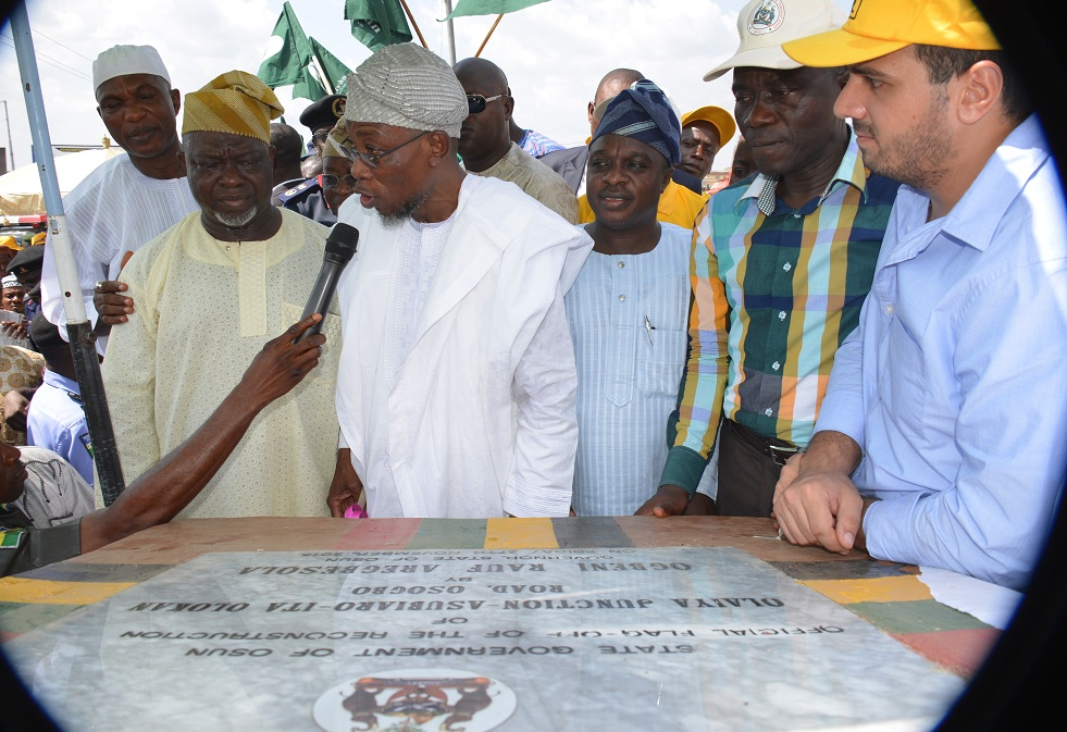 From right, Managing Director (Construction), RATCON Construction Co. Limited, Engr. Fouad Howayek; Permanent Secretary Ministry of Works State of Osun, Engr. Nerudeen Adeagbo; Member State House of Assembly, Hon. Biodun Awolola; Governor Rauf Aregbesola; Deputy Speaker of the House of Assembly, Hon.Akintunde Adegboye and Secretary to the State Government, Alhaji Moshood Adeoti, during the flag-off of reconstruction of Olaiya Junction-Asubiaro-Ita Olokan Road, Osogbo, State of Osun on Friday 27-011-2015Asubiaro-Ita