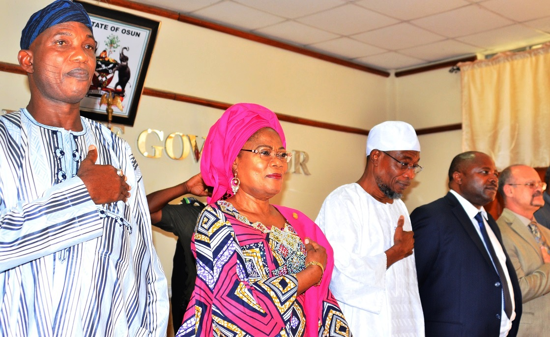 Governor State of Osun, Ogbeni Rauf Aregbesola (middle), Director General International  Institute of Tropical Agriculture (IITA), Ibadan, Dr. Nteranya Sangiga (2nd right); Secretary to the State Government, Alhaji Moshood Adeoti (left) and Deputy Director General Partnership & Capacity Development of the IITA, Dr. Kenton Dashiell (right), during the Signing of Memorandum of Understanding (MoU) between the State Government and  International Institute of Tropical Agriculture, at Governor's office, Abere, Osogbo, on Tuesday 17/11/2015.