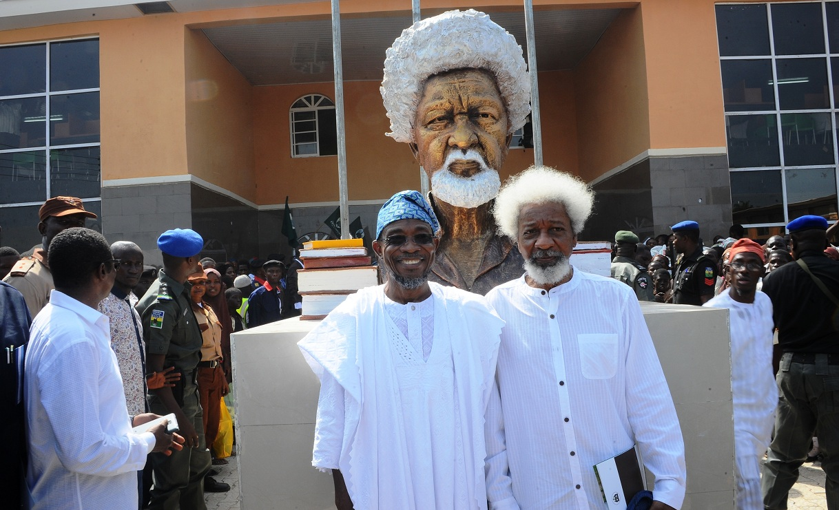 Professor Wole Soyinka and Governor State of Osun, Ogbeni Rauf Aregbesola, during the commissioning of Wole Soyinka Government High School, Ejigbo, State of Osun on Monday 23-11-2015