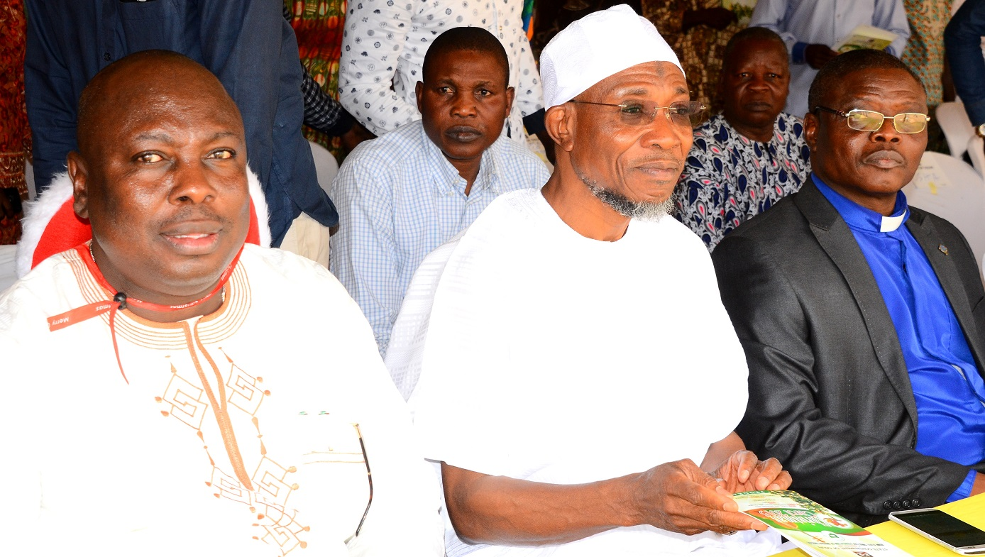 From left- Former Commissioner for Information and Strategies State of Osun, Hon. Sunday Akere, Governor State of Osun, Ogbeni Rauf Aregbesola and Chairman Osun State Christian Association of Nigeria (OSCAN), Rev.(Dr), Elisha Ogundiya, during the 2015  Christmas Carol by the State Government of in Conjunction with the State Christian Association of Nigeria (CAN), at Government House Osogbo, on Sunday 27/12/2015.