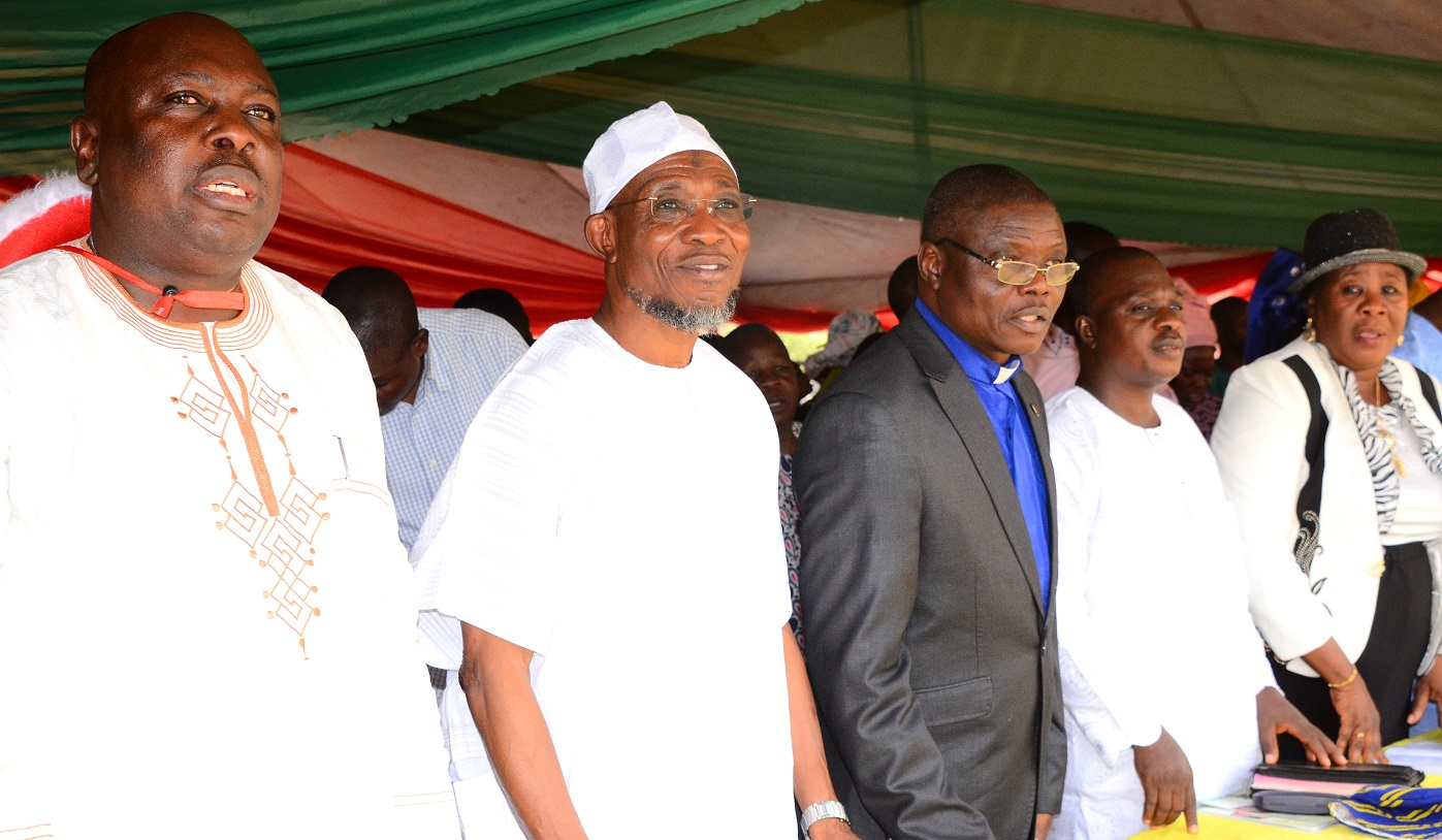 From left- Former Commissioner for Information and Strategies State of Osun, Hon. Sunday Akere, Governor State of Osun, Ogbeni Rauf Aregbesola,Chairman Osun State Christian Association of Nigeria (OSCAN), Rev.(Dr), Elisha Ogundiya, Honorable Member,State of Osun House of Assemble, Hon. Abiodun Awolola and Hon. Chief Judge of Osun, Justice Adepele Ojo, during the 2015  Christmas Carol by the State Government in Conjunction with the State Christian Association of Nigeria (CAN), at Government House Osogbo, on Sunday 27/12/2015.