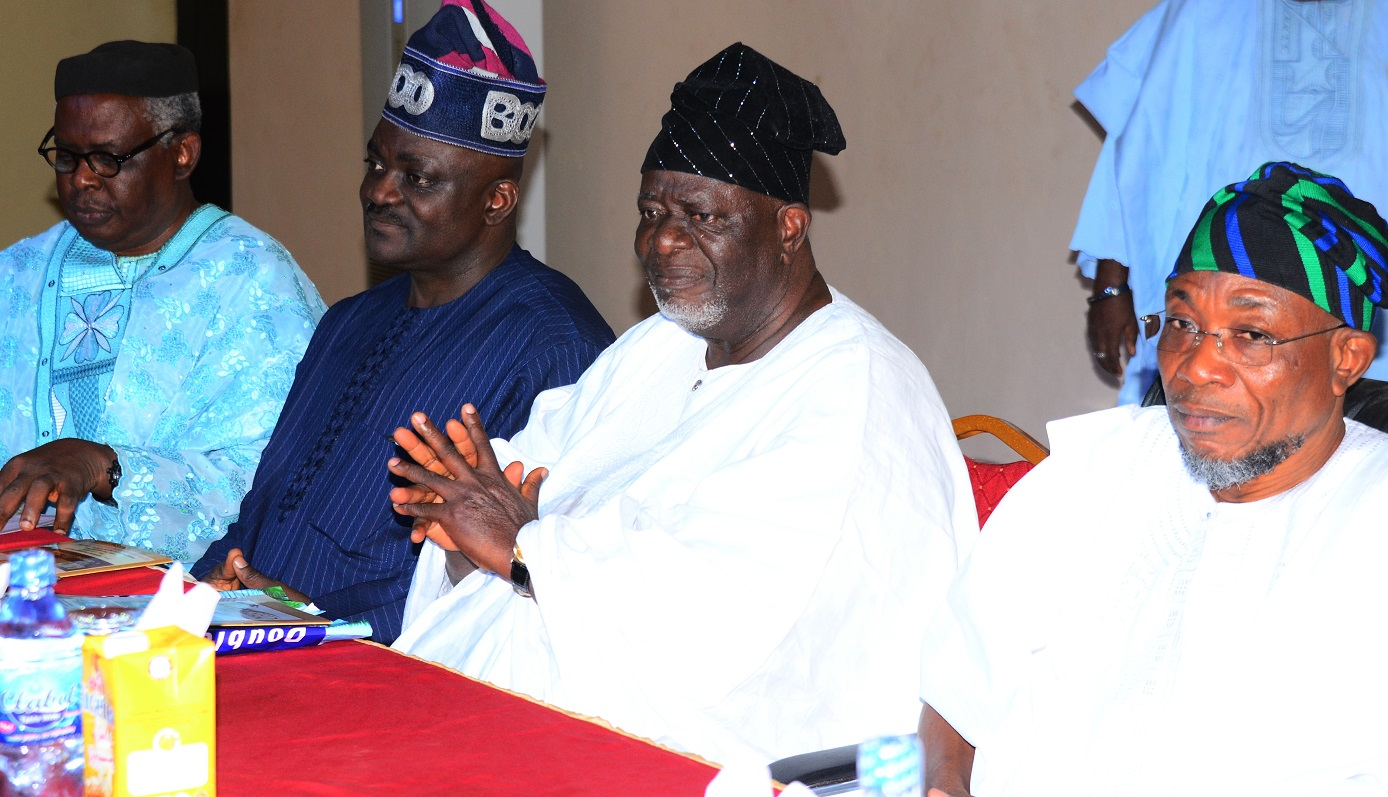 From right- Governor State of Osun, Ogbeni Rauf Aregbesola; National President, Ijebu-Jesa Social Club,Chief John Fademi,Chairman on the Occasion, Hon. Oluwole Oke and Chairman Ijebu-Jesa Social Club (Ibadan Branch),Prof. Tolu Yoloye, during the 2015 Ibadan Branch of Ijebu-Jesa Social Club Day and Award Ceremonies, at Timsed Hotel & Holiday Centre, Ijabu-Jesa, State of Osun, on Saturday 26/12/2015.