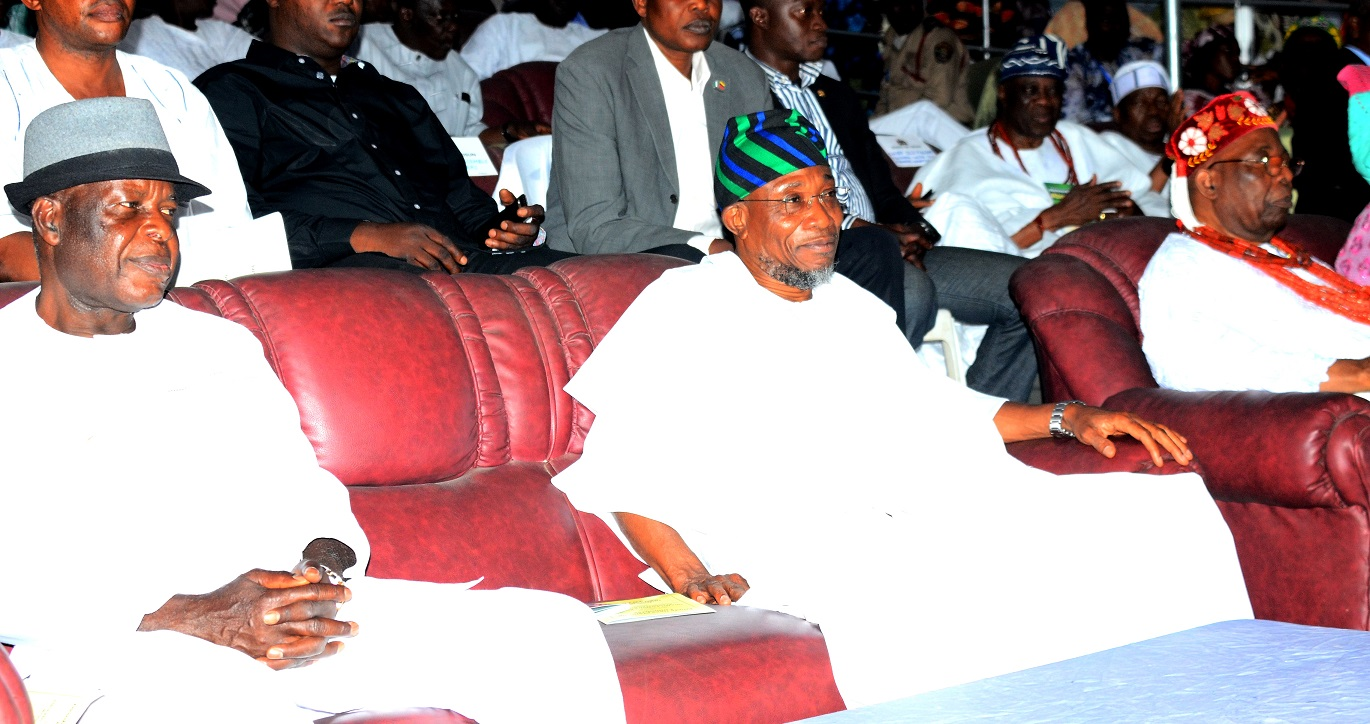 From left- former Inspector General of Police, Dr. Mike Mbama Okiro, Governor State of Osun, Ogbeni Rauf Aregbesola and Owa Obokun Adimula of Ijesaland, Oba Gabriel Adekunle Aromolaran, during the 2015 Iwude Ijesa Festival, at Owa's Palace on Saturday 26/12/2015.