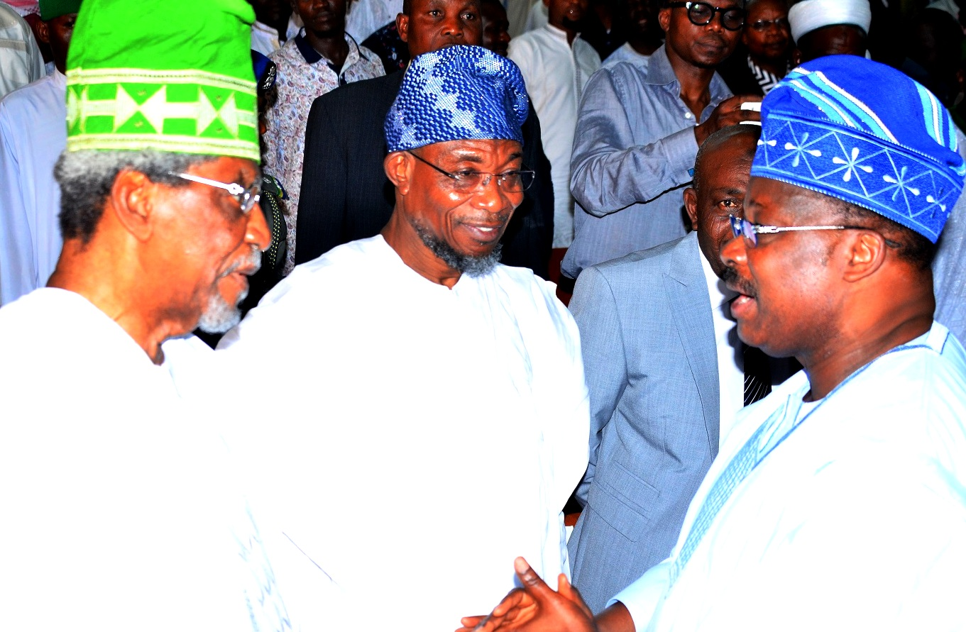 Host Governor, State of Osun, Ogbeni Rauf Aregbesola (middle), Alhaji Lateef Femi Okunnu (left) and Guest  Lecturer/Oyo State Governor, Senator Abiola Ajimobi    during the Seventh Annual Public Lecture of Nigeria Association of Muslim Law Students, Obafemi Awolowo University Chapter in Honour of Alhaji Lateef Femi Okunnu, at the University Conference Centre, Ile-Ife, State of Osun, on Tuesday 01-12-2015.