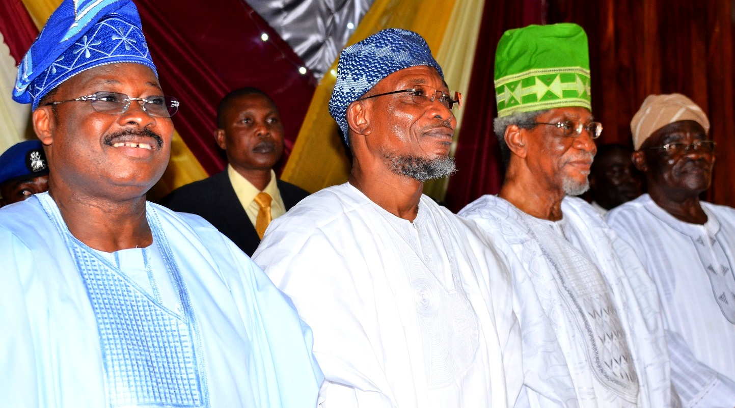 From left - Guest  Lecturer/Oyo State Governor, Senator Abiola Ajimobi, Host Governor, State of Osun, Ogbeni Rauf Aregbesola, Alhaji Lateef Femi Okunnu and Oyo State Chairman All Progressive Congress (APC), Chief Akin Oke during the Seventh Annual Public Lecture of Nigeria Association of Muslim Law Students, Obafemi Awolowo University Chapter in Honour of Alhaji Lateef Femi Okunnu, at the University Conference Centre, Ile-Ife, State of Osun, on Tuesday 01-12-2015.