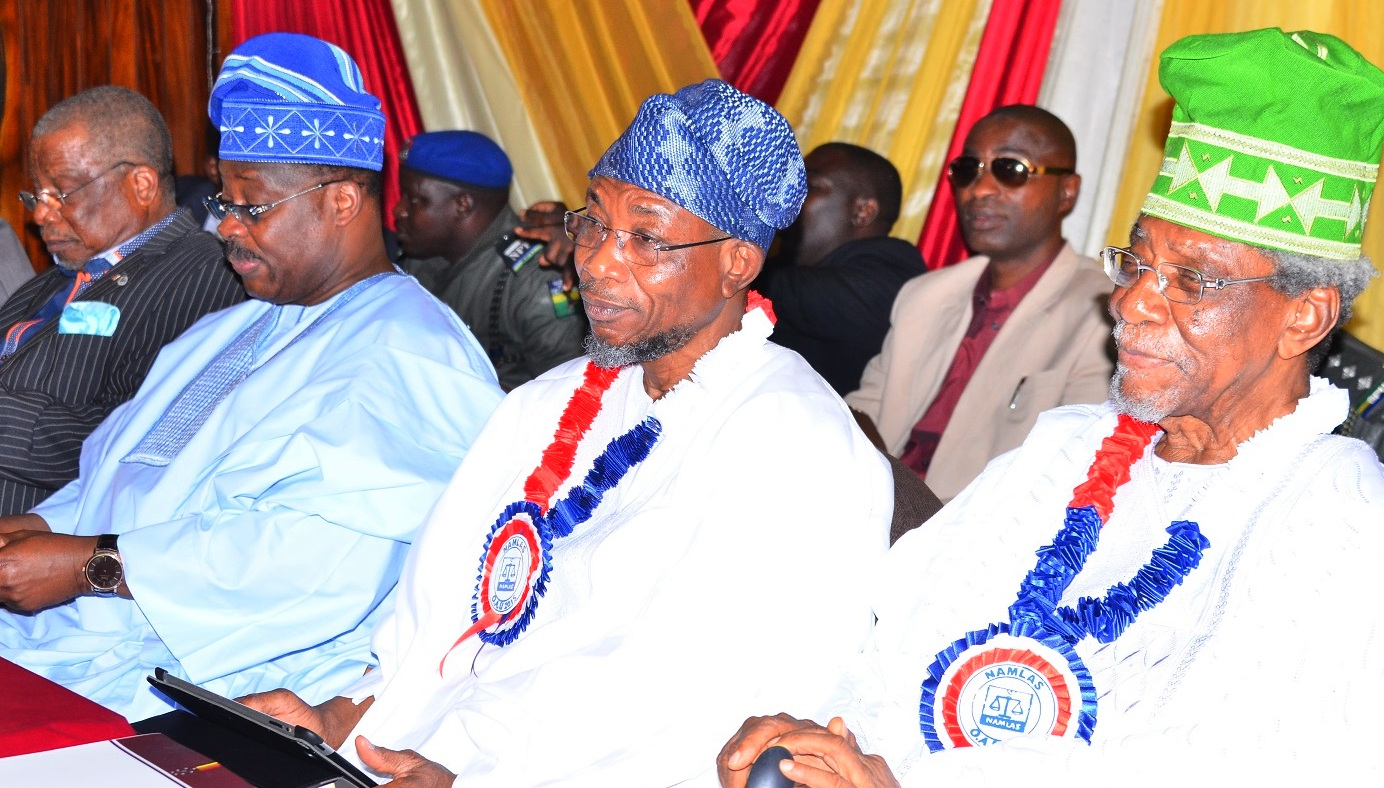 From right -  Alhaji Lateef Femi Okunnu, Host Governor, State of Osun, Ogbeni Rauf Aregbesola, Guest  Lecturer/Oyo State Governor, Senator Abiola Ajimobi and Chairman of the Occasion, former Vice Chancellor University of Uyo, Prof. Fola Lasisi during the Seventh Annual Public Lecture of Nigeria Association of Muslim Law Students, Obafemi Awolowo University Chapter in Honour of Alhaji Lateef Femi Okunnu, at the University Conference Centre, Ile-Ife, State of Osun, on Tuesday 01-12-2015.