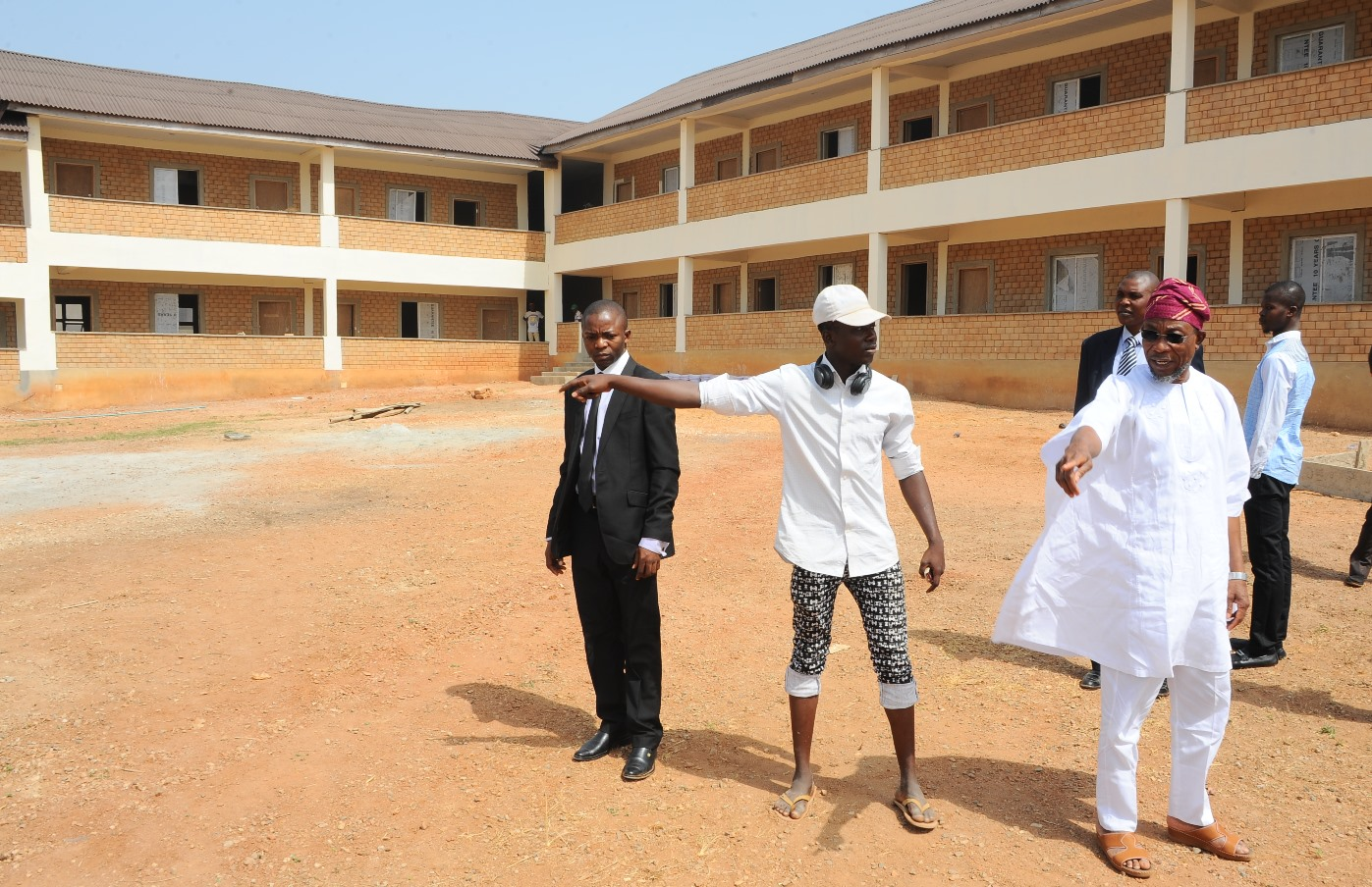 From right- Governor State of Osun, Ogbeni Rauf Aregbesola, the Project Manager, Taner Bicigil (2nd right), during the inspection of the on going Construction of Oshogbo High School on Wednesday 9-12-2015.