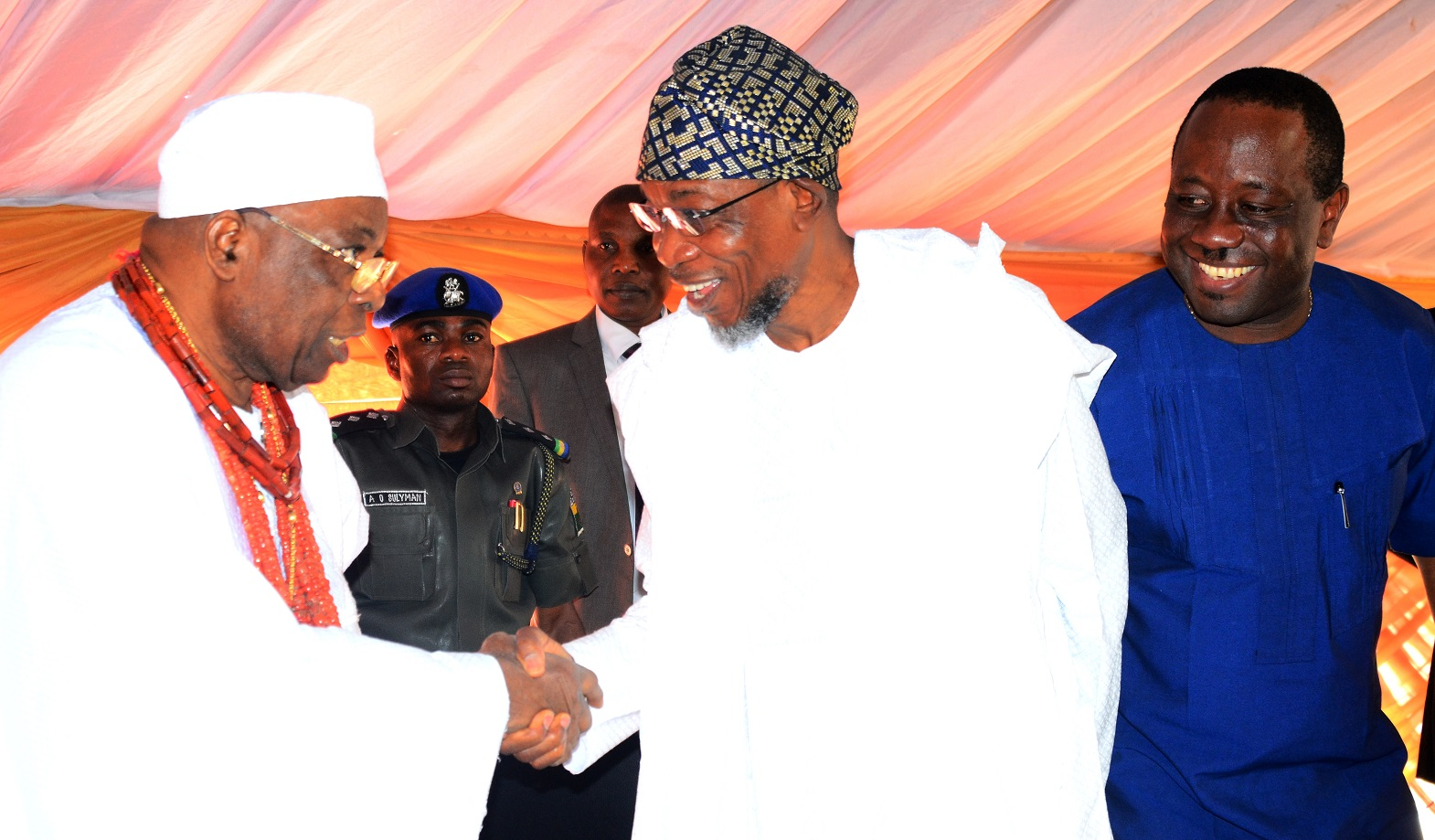 Governor State of Osun, Ogbeni Rauf Aregbesola (middle); Chairman International Breweries Plc Ilesa, Otunba Micheal Daramola (right) and Owo Obokun of Ijesa Land,  Oba (Dr.) Adekunle Aromolaran, during the Official Commissioning of the New Effluent Treatment Plant and Water Pipeline, at the Company's premises, Ilesa, on Tuesday 8/12/2015.
