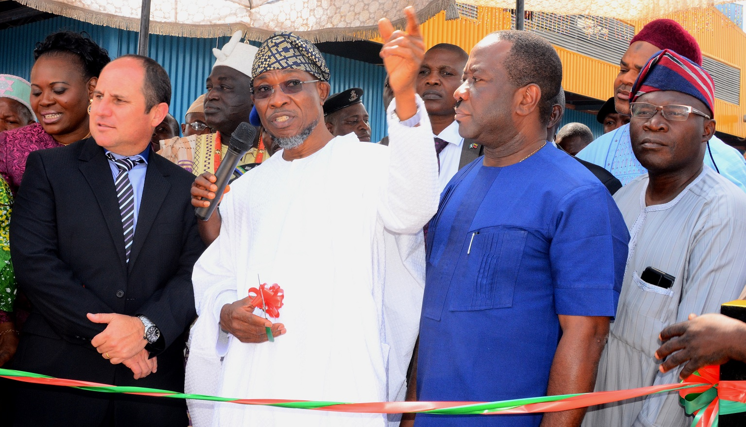 Governor State of Osun, Ogbeni Rauf Aregbesola (2nd left); Chairman International Breweries Plc Ilesa, Otunba Micheal Daramola (2nd right), Chief Operating Officer,  Mr. Andrew Ross (left), and Former Commissioner for Commerce and Cooperative, State of Osun, Mr. Ismaila Alagbada during the Official Commissioning of the New Effluent Treatment Plant and Inspection of Expansion Project at International Breweries Plc, Ilesa on Tuesday 8/12/2015.