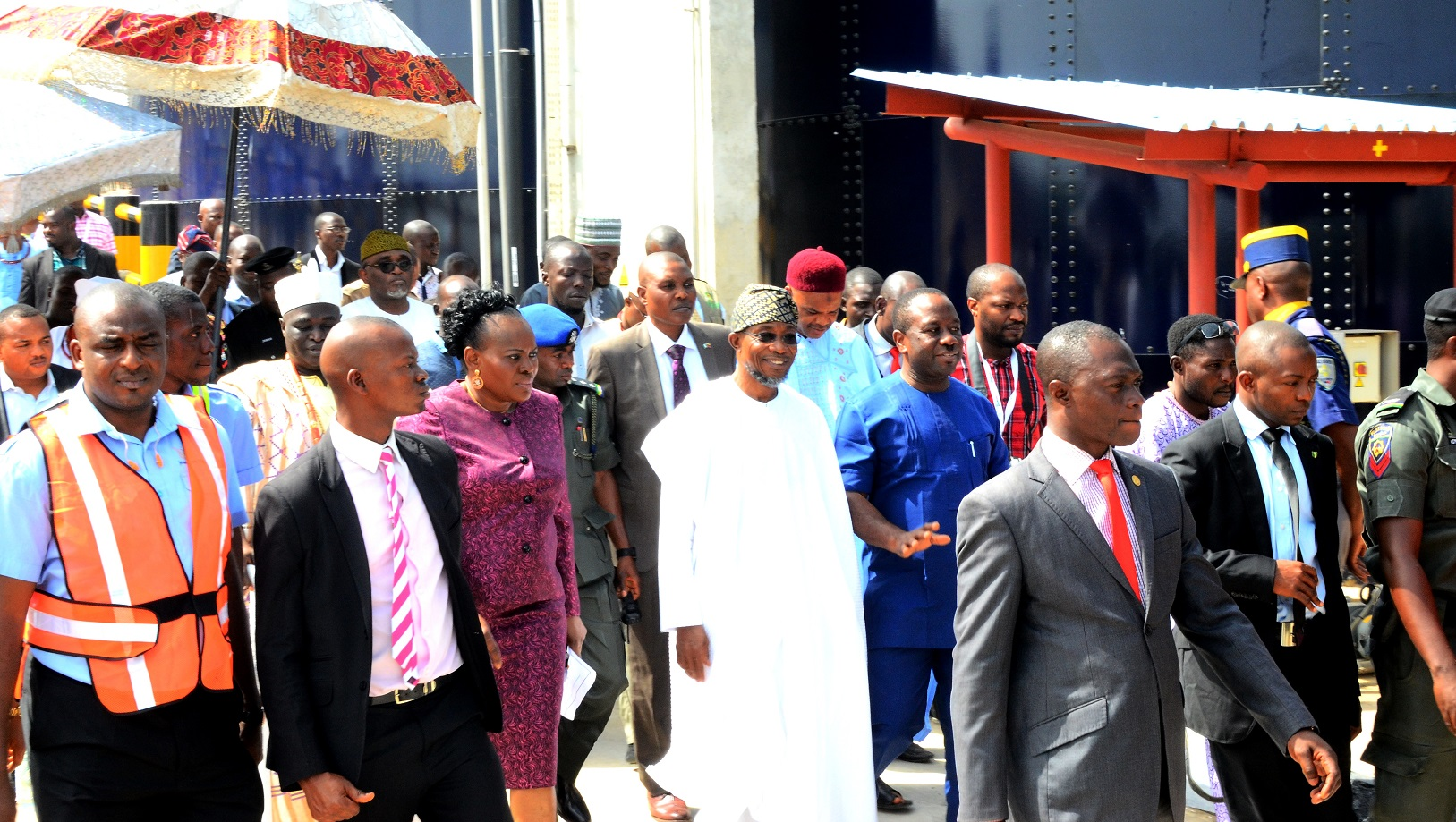 Governor State of Osun, Ogbeni Rauf Aregbesola (middle); Chairman International Breweries Plc Ilesa, Otunba Micheal Daramola (right), Corporate Affair Manager,  Mrs. Folasade Omole (3rd left), and others during the Official Commissioning of the New Effluent Treatment Plant and Inspection of Expansion Project at International Breweries Plc, Ilesa on Tuesday 8/12/2015.