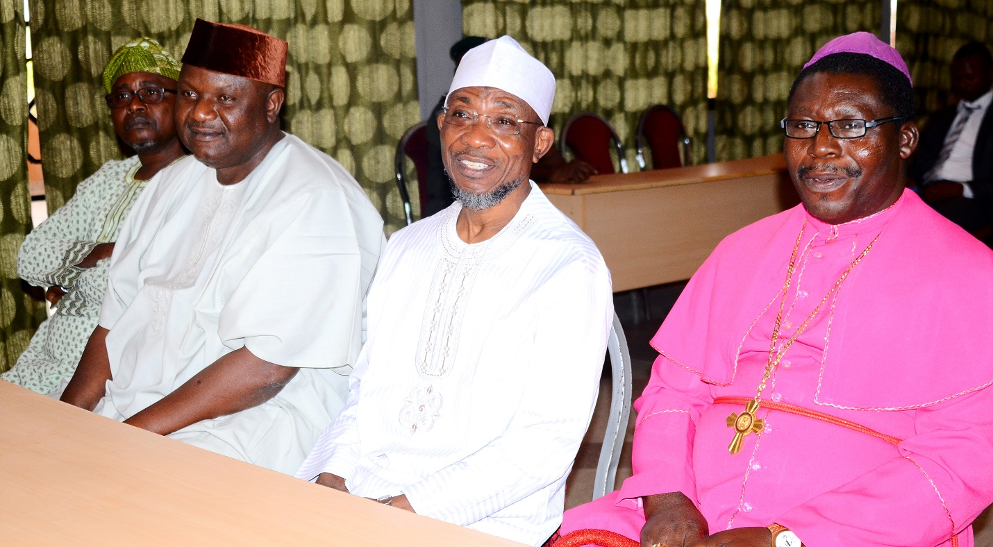 Governor State of Osun, Ogbeni Rauf Aregbesola handshake with Archbishop of Ilesa Methodist Church Nigeria, Most Rev. Amos Akindeko, during a Courtesy Visit to the Governor, Osun at Government House, Osogbo