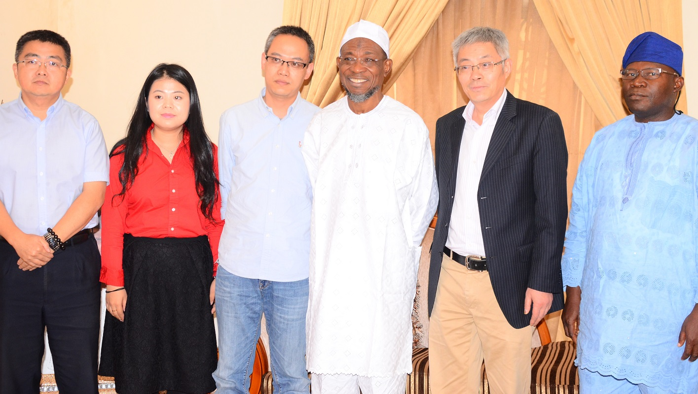 Governor State of Osun, Ogbeni Rauf Aregbesola (3rd right), Chairman High Hope International Group Skyrun Corporation, Mr. Xie Shao (2nd right), General Manager of the Corporation, Mr. Gu Xin   (3rd left), Investment Deputy Vice Manager, Mr. Sophie Lee (2nd left), Former Commissioner for Commerce, Cooperative and Empowerment, Hon. Jayeoba Ismail Adekunle Alagbada (right) and Executive Deputy General Manager of the Corporation, Vincent Yang (left), during a visit to the Governor at his Ikeja Lagos residence on  Tuesday 29/12/2015.