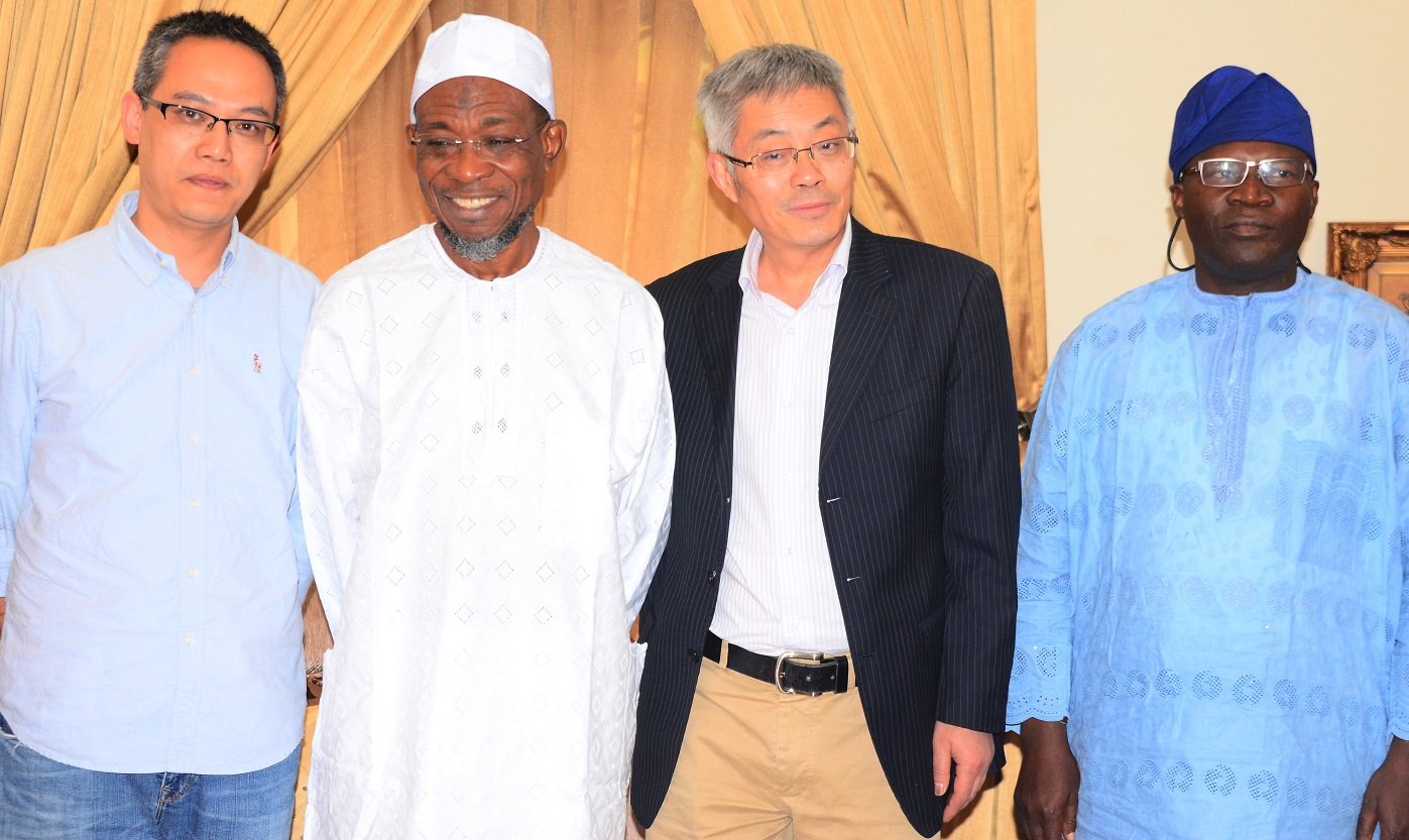 Governor State of Osun, Ogbeni Rauf Aregbesola (2nd left), Chairman High Hope International Group Skyrun Corporation, Mr. Xie Shao (2nd right), General Manager of the Corporation, Mr. Gu Xin (left) and Former Commissioner for Commerce, Cooperative and Empowerment, Hon. Jayeoba Ismail Adekunle Alagbada, during a visit to the Governor at his Ikeja Lagos residence on  Tuesday 29/12/2015.