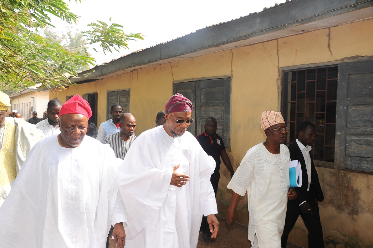 The Governor State of Osun, Ogbeni Rauf Aregbesola (2nd Right); the Akirun of Ikirun, Oba Abdurauf Adedeji (2nd left), Former Attorney General and Commissioner for Justice, Hon Adewale Afolabi and Former Commissioner for Tourism, Culture and Home Affairs, Hon Sikiru Ayedun, during an inspection visit to Ikirun Science High School in Ikirun on Friday