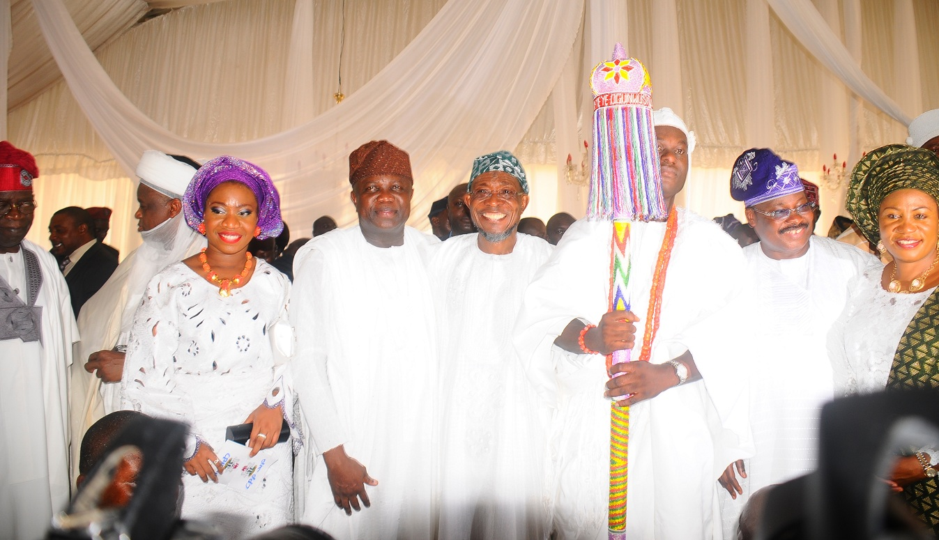 From left, Asiwaju Bola Ahmed Tinubu; The Saltan of Sokoto, Alhaji Saad Abubakar; Governor of Lagos State, Mr Akinwumi Anbode; Governor Rauf Aregbesola; the newly installed Ooni of Ile-Ife, Oba Adeyeye Enitan Ogunwusi; Governor of Oyo State, Senator Isiaka Abiola Ajimobi and Wife of Osun Governor, Alhaja Sherifat Aregbesola, during the installation of the Ooni of Ile-Ife., at Enuwa Squre, Ile-Ife on Monday 07-12-2015