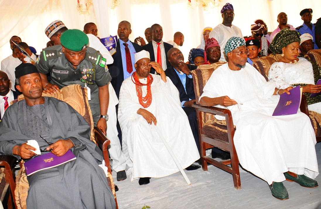 From left, Vice President of the Federal Republic of Nigeria, Prof. Yemi Osibajo; the Owa Obokun of Ijesaland, Oba Gabriel Adekunle Aromolaran; Governor State of Osun, Ogbeni Rauf Aregbesola and his wife, Alhaja Sherifat Aregbesola, during the installation of the Ooni of Ile-Ife., at Enuwa Squre, Ile-Ife on Monday 07-12-2015
