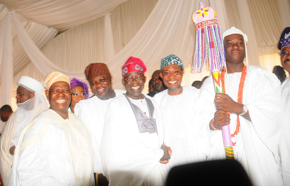 Saltan of Sokoto, Alhaji Saa'd Abubakar; Chief Bisi Akande; Governor of Lagos State, Mr Akinwumi Anbode; Senator Ahmed Bola Tinubu; Governor of Osun, Ogbeni Rauf Aregbesola and the newly installed Ooni of Ile-Ife, Oba Adeyeye Enitan Ogunwusi, during the installation of the Ooni of Ile-Ife., at Enuwa Squre, Ile-Ife on Monday 07-12-2015
