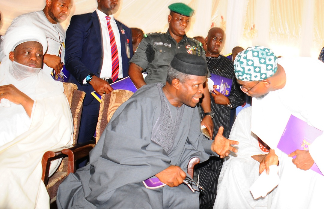From left, Vice President of the Federal Republic of Nigeria, Prof. Yemi Osibajo; the Owa Obokun of Ijesaland, Oba Gabriel Adekunle Aromolaran and Governor State of Osun, Ogbeni Rauf Aregbesola, during the installation of the Ooni of Ile-Ife., at Enuwa Squre, Ile-Ife on Monday 07-12-2015
