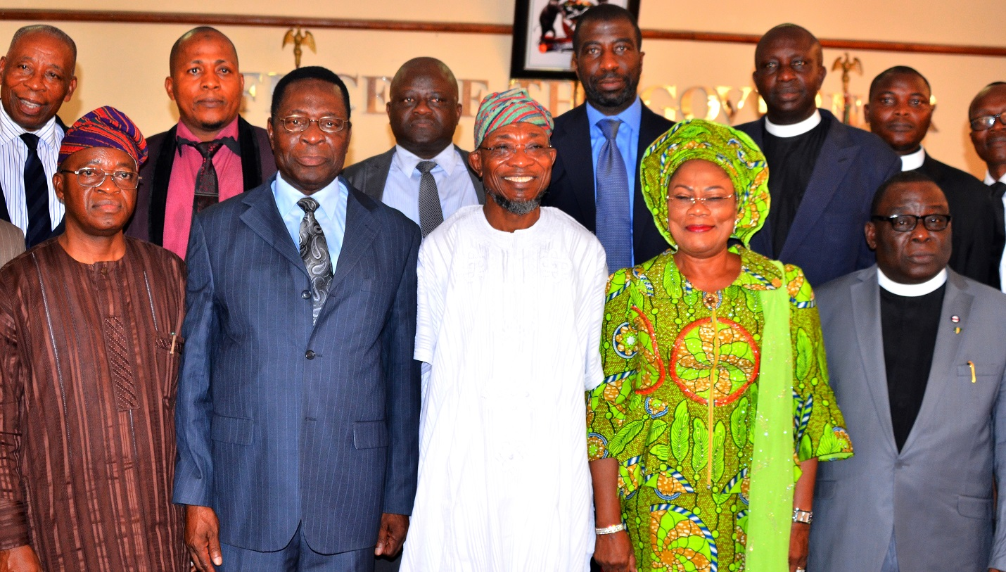 Governor State of Osun, Ogbeni Rauf Aregbesola (middle), his Deputy, Mrs. Titi Laoye-Tomori (2nd right), National President of the Apostolic Church, Nigeria, Pastor Gabriel Oladele Olutola (2nd left), Chief of Staff to the Governor, Osun, Alhaji Gboyega Oyetola (left) and Osogbo Area Superintendent, Pastor Paul Usman (right), during the presentation of N87.9million cheque to the leadership of the Apostolic Church of Nigeria as compensation on the demolition of its church for the construction of Olaiya-Ita Olokan road, Osogbo, at Governor's office, Abere, Osogbo, on Thursday 03-12-2015.
