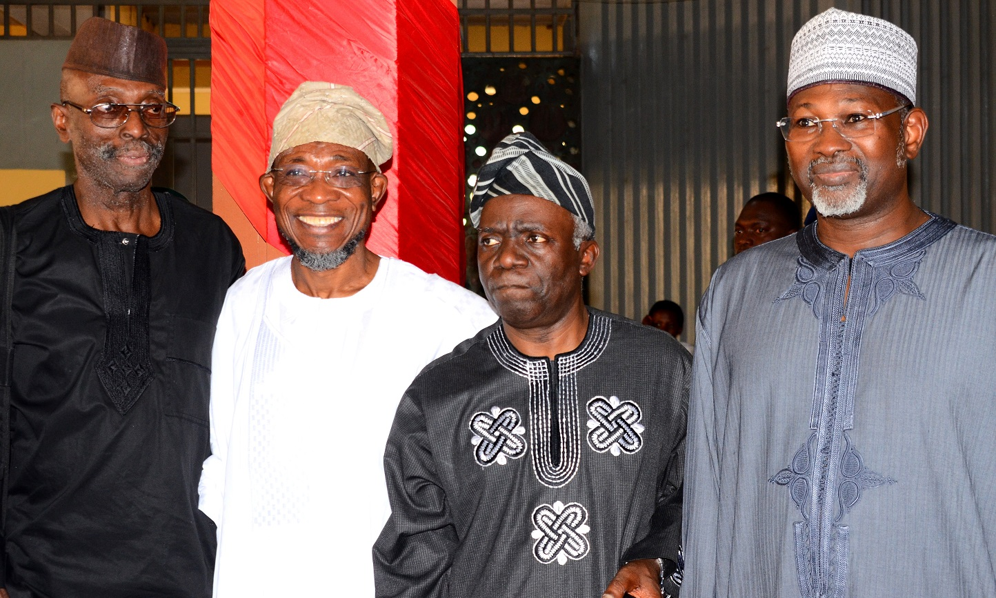 First President, Academic Staff Union of Universities {ASUU}, Professor Biodun Jeyifo, Governor State of Osun, Ogbeni Rauf Aregbesola, Chairman of the Occasion, Barrister Femi Falana (SAN), and Keynote Speaker, Professor Attahiru Jega,during the 70th Birthday of Prof. Biodun Jeyifo, at the International Conference  Centre, Obafemi Awolowo University, Ile-Ife on Thursday 20/01/2016.