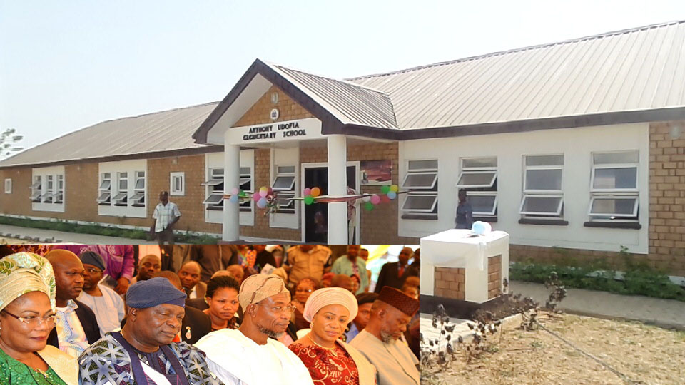 The newly commissioned Anthony Udofia Elementary School in Osogbo. Insert From left, Deputy Governor, State of Osun, Mrs Titi Laoye-Tomori; former Governor Olagunsoye Oyinlola; Governor Rauf Aregbesola; his wife, Sherifat and former Osun State Military Administrator, Navy Captain Anthony Udofia, during the commissioning of the School in Osogbo on Tuesday 12-01-3016