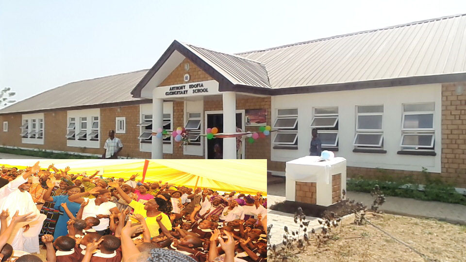 The newly commissioned Anthony Udofia Elementary School in Osogbo. Insert Governor State of Osun, Ogbeni Tauf Aregbesola acknowledging cheers from students during the commissioning on Tuesday 12-01-2016
