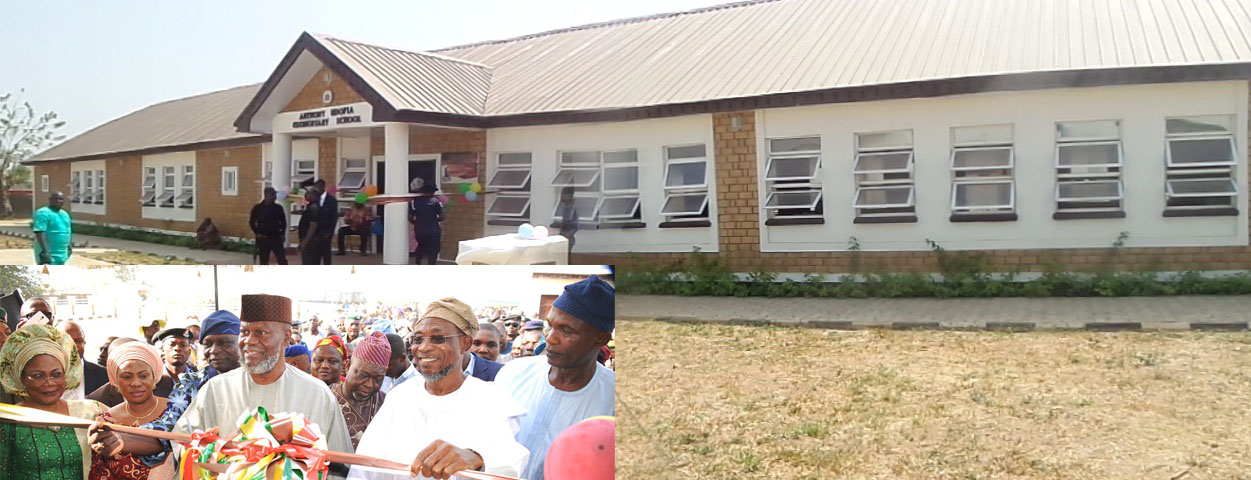 The newly commissioned Anthony Udofia Elementary in Osogbo. Insert from left, Deputy Governor State of Osun, Mrs Titi Laoye-Tomori; Mrs Sherifat Aregbesola; Former Military Administrator in the State, Navy Captain Anthony Udofia; Governor Rauf Aregbesola; Secretary to the State Government, Moshood Adept I and others, during the commissioning on Tuesday 12-01-2016