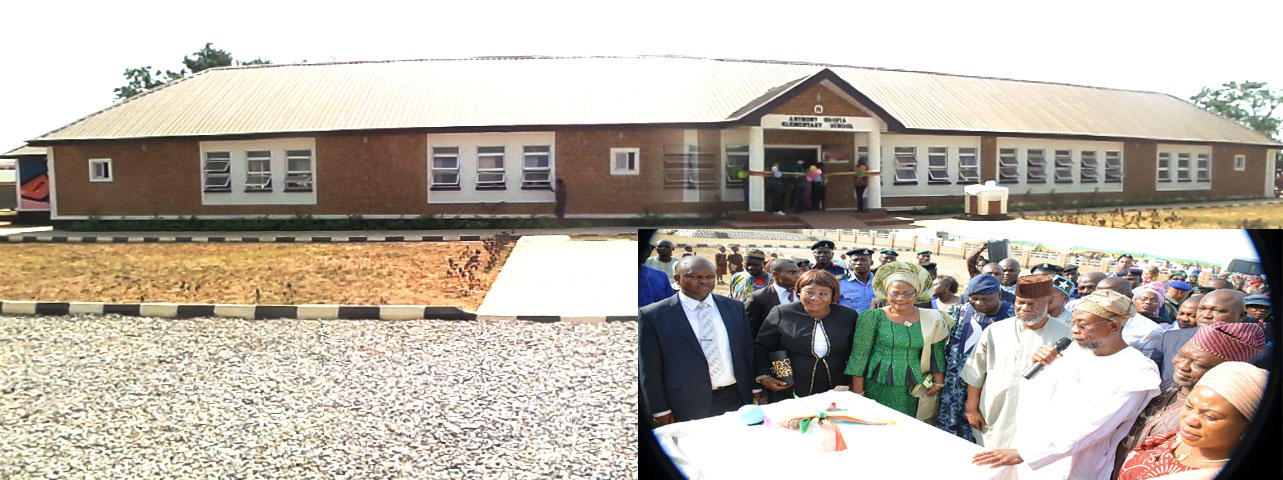 Newly Commissioned Anthony Udofia Elementary School in Osogbo. Insert From left, Permanent Secretary SUBEB, Mr Fatai Kolawole; Osun State Chief Judge, Justice Adepele Ojo; Deputy Governor, Mrs Titi Laoye-Tomori; former Governor Olagunsoye Oyinlola; former Military Administrator in the State, Navy Captain Anthony Udofia; Governor Rauf Aregbesola; deputy Speaker of the State House of Assembly, Hon. Adegboye Akintunde; wife of Governor Aregbesola, Alhaja Sherifat and others, during the commissioning of the School on Tuesday 12-01-2016