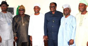 Governor State of Osun, Ogbeni Rauf Aregbesola (3rd left), President of Nigerian Society of Engineers, Engr. Otis Anyaeji (3rd right), Past President Nigeria Society of Engineers, Engr. Ifedayo Akintunde (2nd right), Chairman Nigeria Society of Engineers, Ibadan Branch, Engr.Bola Olowa (right), Past President Nigeria Society of Engineers, Engr. Alade Ajibola (2nd left), and Executive Secretary Nigeria Society of Engineers, Engr. Olusola Obadimu (left), at Ibadan Airport on Wednesday 27/01/2016.