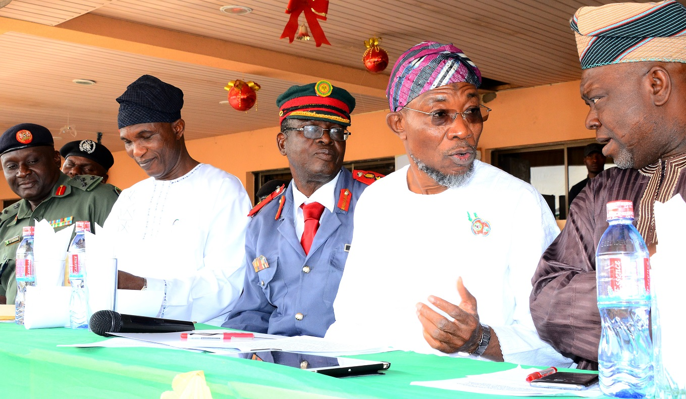 From right- Deputy Speaker, Osun House of Assembly, Hon. Akintunde Adegboye, Governor State of Osun, Ogbeni Rauf Aregbesola,Chairman Nigeria Legion State of Osun, Col. Alimi Samotu, Secretary to the State Government, Alhaji Moshood Adeoti and Brigadier General, Jude Egbudome, during the Launching of 2016 Emblem of the Armed Forces Remembrance Day Celebrations, at the Government House Osogbo, On Thursday 07/01/ 2016.