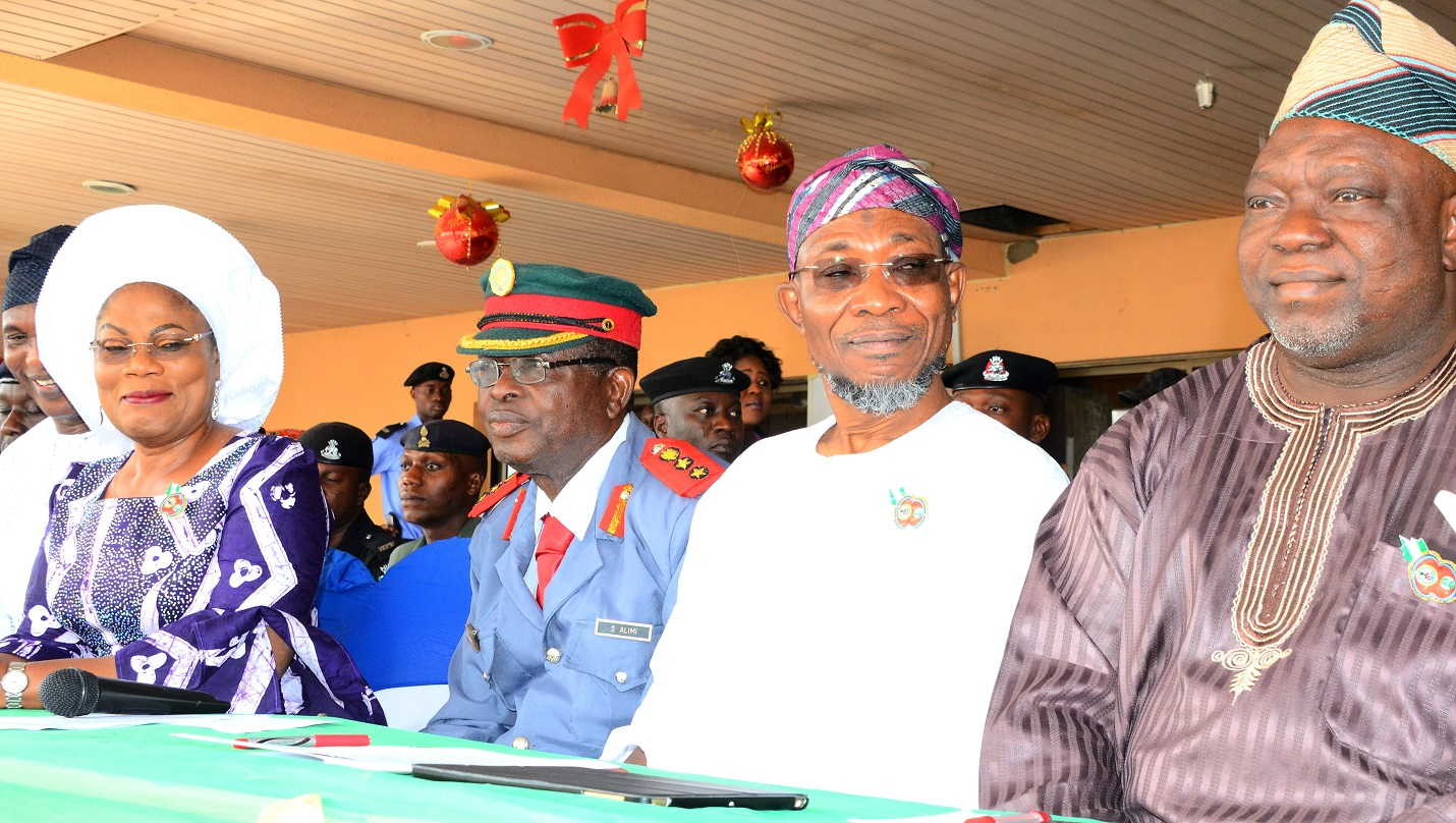 From right- Deputy Speaker, Osun House of Assembly, Hon. Akintunde Adegboye, Governor State of Osun, Ogbeni Rauf Aregbesola,Chairman Nigeria Legion State of Osun, Col. Alimi Samotu and his Deputy,   Mrs. Titi Laoye-Tomori, during the Launching of 2016 Emblem of the Armed Forces Remembrance Day Celebrations at Government house Osogbo, On Thursday 07/01/ 2016.