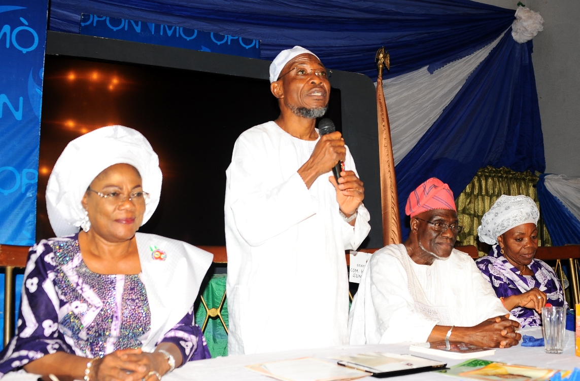 Governor State of Osun Ogbeni Rauf Aregbesola (2nd left); his Deputy, Mrs Titi Laoye-Tomori (left); The Celebrant Former President of Nigeria Labour Congress, Comrade Hassan Sunmonu (2nd right) and his wife, Mrs Titilayo Sunmonu. during a dinner in honour of Comrade Hassan Sunmonu on his75th Birthday Anniversary, at the Government House Osogbo at the weekend