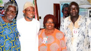 Governor State of Osun, Ogbeni Rauf Aregbesola (middle); Dr. Edwin Madunagu (left) and his wife, Professor Bene Madunagu (right), during a Courtesy Visit to the Governor, at Government House, Osogbo, on Saturday 23-01-2016.