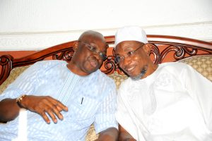 Governor State of Osun, Ogbeni Rauf Aregbesola ( right) and the EKITI State Governor, Dr Ayodele Fayose (left).