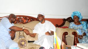 Governor State of Osun, Ogbeni Rauf Aregbesola (middle);   the EKITI State Governor, Dr Ayodele Fayose (left); Deputy Governor State of Osun, Mrs Titi Laoye-Tomori (right). during the Courtesy visit to the governor state of osun on issue of Uniting the Yoruba race. at the Government house Osogbo, on Tuesday 26-1-2016.