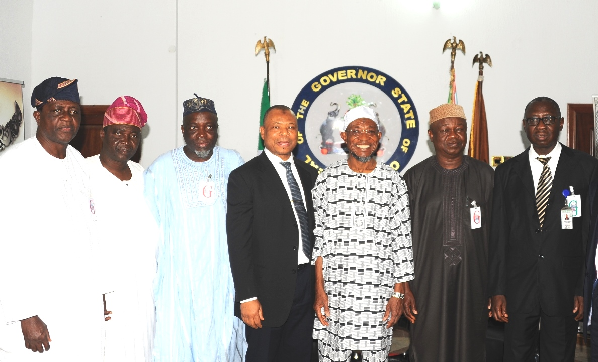 Governor State of Osun, Ogbeni Rauf Aregbesola (3rd right); Chairman Board of Trustees Fountain University, Alhaji Abdulwaheed Adeola (4th left); President, Nasiru-llahi Fatih Society of Nigeria (NASFAT). Engr Yomi Bolarinwa (2nd right); Pro Chancellor, Governing Council Fountain University,Professor Ishaq Oloyede (3rd left); Secretary  Board of Trustees Fountain University, Alhaji Latif Olasupo (left); Member Board of Trustees, Senator Bayo Salami (left); Vice Chancellor, Professor Raji Basiru (right). during a Courtesy visit to Mr Governor by the Board and Governing Council of the fountain university, Osogbo at the Government House on Monday 11-1-2016