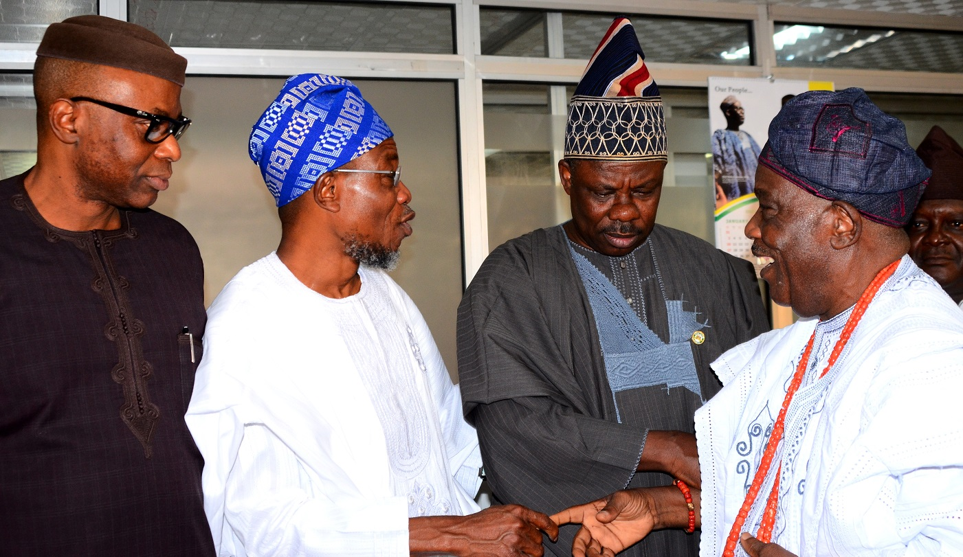 Governor State of Osun, Ogbeni Rauf Aregbesola (second left), Ogun State Governor, Senator Ibikunle Amosun (second right), Ondo State Governor, Dr. Olusegun Mimiko (left) and Chairman, Odu'a Investment Company Limited, Chief Isaac Akintade, during the Odu'a Owner States Governors' Meeting, at Cocoa House, Ibadan, Oyo State, on Tuesday 19/1/2016.