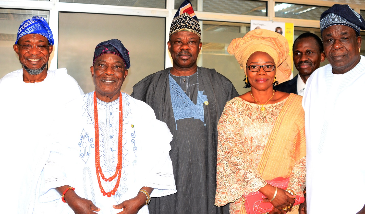 From left- Governor State of Osun, Ogbeni Rauf Aregbesola,Chairman, Odu'a Investment Company Limited, Chief Isaac Akintade, Ogun State Governor, Senator Ibikunle Amosun, Director Odu'a Investment Company Limited, Oyo State, Dr, Mrs Adepeju Esan and Deputy Governor Oyo State, Moses Adeyemo, during the Odu'a Owner States Governors' Meeting, at Cocoa House, Ibadan, Oyo State, on Tuesday 19/1/2016.
