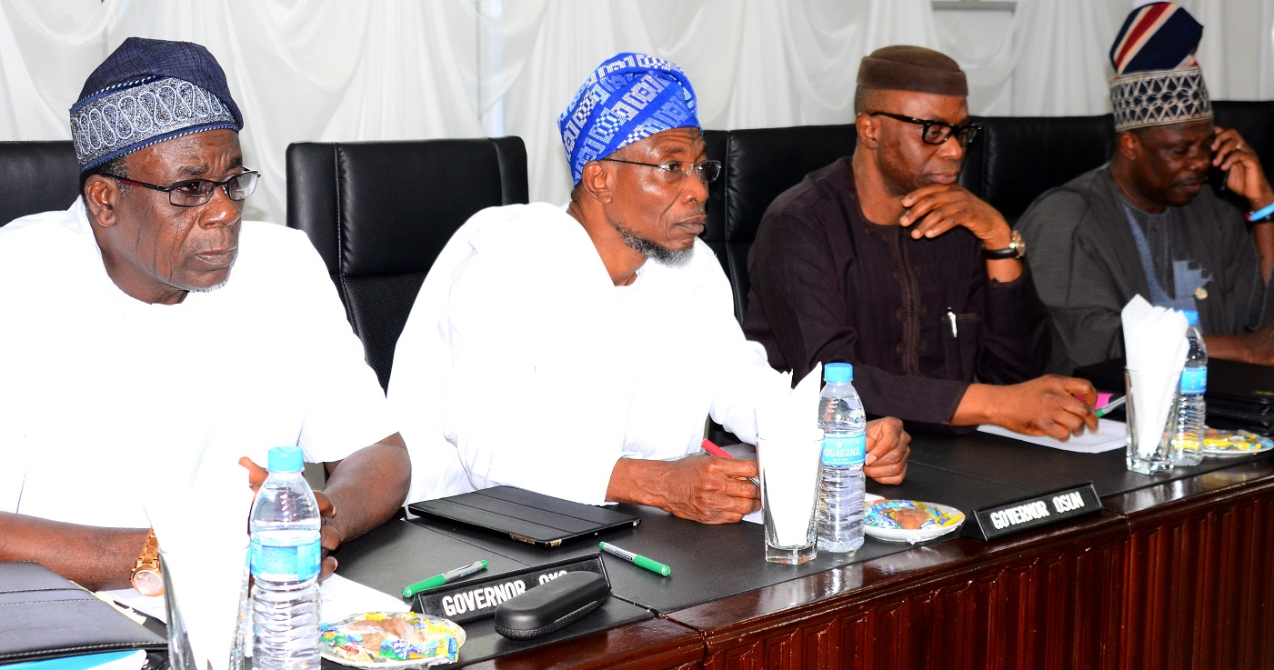From left- Deputy Governor Oyo State, Moses Adeyemo, Governor State of Osun, Ogbeni Rauf Aregbesola, Ondo State Governor,Dr. Olusegun Mimiko and Ogun State Governor, Senator Ibikunle Amosun, during the Odu'a Owner States Governors' Meeting, at Cocoa House, Ibadan, Oyo State, on Tuesday 19/1/2016.