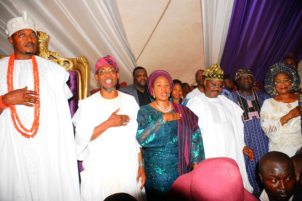 From left, Olueo of Iwo Oba Abdul Rasheed Adewale Akanbi; Governor Rauf Aregbeola of Osun; his wife; Sherifat; Governor Isiaka Ajimobi of Oyo and former Osun Governor Olagunsoye Oyinlola, during the presentation of Staff of Office to Oluwo by Governor Aregbesola,at the Reality Television Station Premises in Iwo on Saturday 16-01-2016