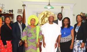 Governor State of Osun, Ogbeni Rauf Aregbesola (3rd right); his Deputy, Mrs Titi Laoye-Tomori (3rd left); team leader, programme manager partnership for child development, Mrs Bimbola Adesanmi (right); staff from office of vice President, Mr Dotun Adebayo (2nd left); staff from office of the Vice President, Mrs Titi Adeyemi-Doro (2nd right); Aace foods inter, Mrs Juliet Daniel (left). during a courtesy visit by officials from the Vice President office to brief the Governor on efforts towards rolling out National School feeding programme, at the Governor office Secretariat abere, on Thursday 21-1-2016.