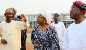 Governor State of Osun, Ogbeni Rauf Aregbesola (middle),his Deputy, Mrs. Titi Laoye-Tomori (left), and Chief of Staff to the Governor, Osun, Alhaji Gboyega Oyetola during the unscheduled inspection to the ongoing construction of Ilesa Government High School, Ilesa, on Sunday 31-01-2016.