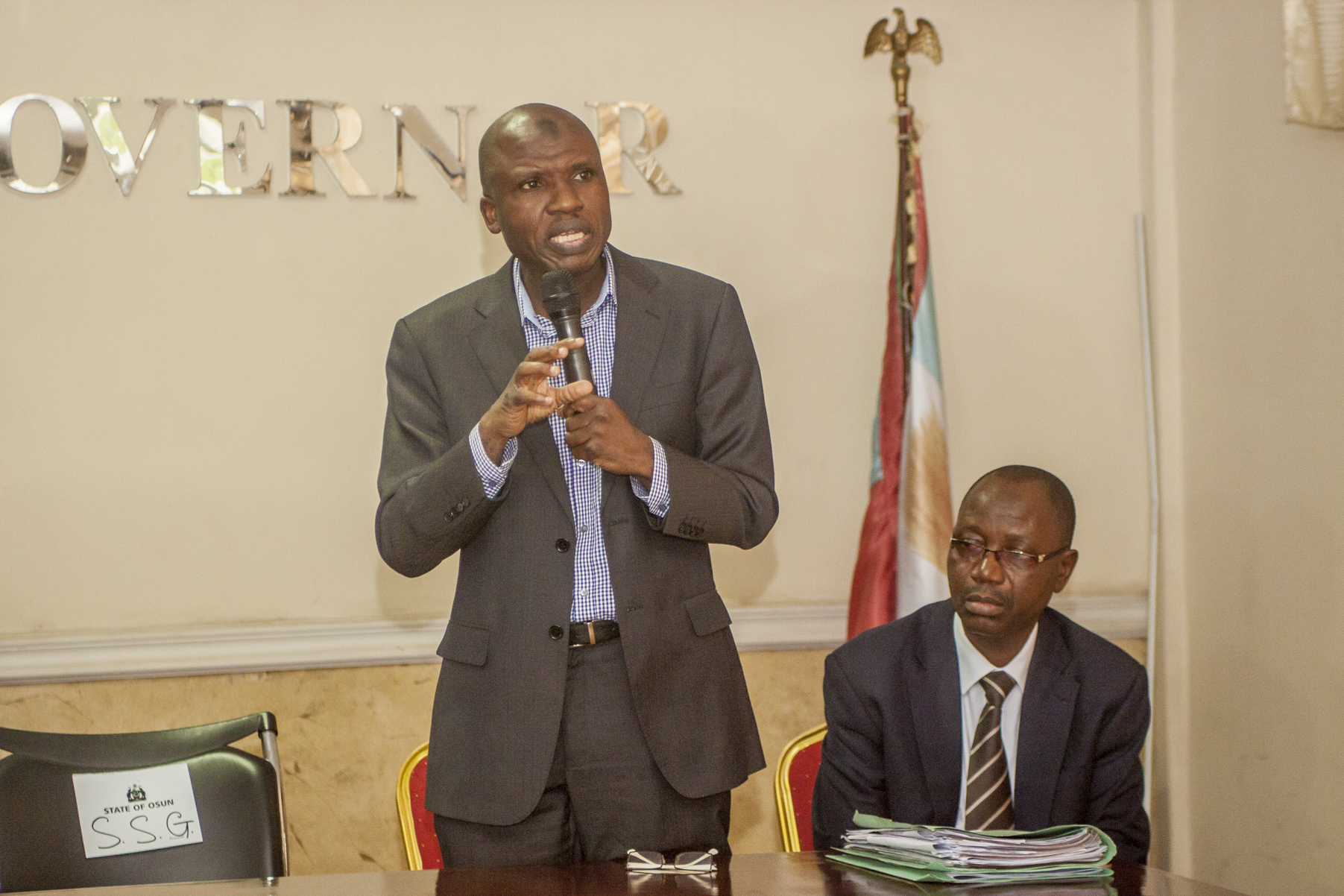 Tax Advisor of Growth and Employment in States (GEMS3), Mr. Dawuud Musa giving a brief introduction of Growth and Employment in States GEMS3