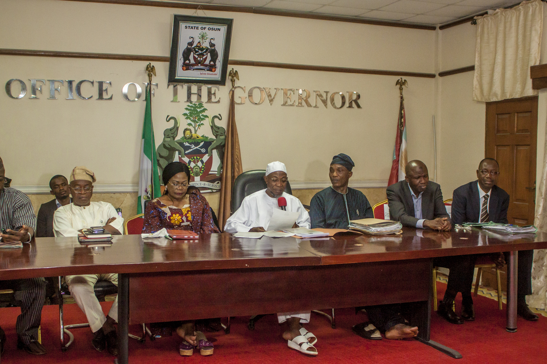 Ogbeni Rauf Aregbesola while addressing the gathering at the presentation